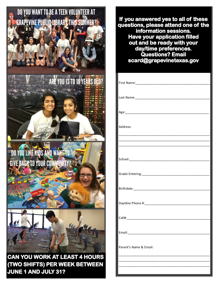 Teen Summer Volunteer Application 2019